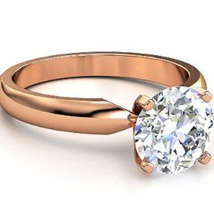 Pink Gold Diamond Ring Solitaire 1.01 F
